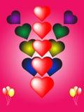 βαλεντίνος καρδιών καρτών Στοκ Εικόνες