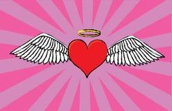 βαλεντίνος καρδιών s αγγέλου απεικόνιση αποθεμάτων