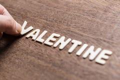Βαλεντίνος το ξύλινο Word στοκ εικόνα με δικαίωμα ελεύθερης χρήσης
