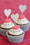 Βαλεντίνος cupcakes Στοκ Εικόνες