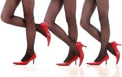 βαλμένες τακούνια υψηλές γυναικείες κάλτσες ποδιών στοκ εικόνα