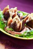 βαλσαμικό ξίδι prosciutto σύκων τυρ Στοκ Φωτογραφίες