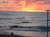 Βαλτική, θάλασσα, ηλιοβασίλεμα, ανατολή, σύρει τη βοήθεια, Di στοκ φωτογραφίες