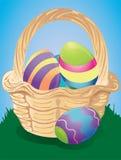 βαμμένα καλάθι αυγά Πάσχας απεικόνιση αποθεμάτων