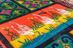 Βαμμένη παραχωρήσώντη πριονίδι λεπτομέρεια ταπήτων, Αντίγκουα, Γουατεμάλα Στοκ φωτογραφίες με δικαίωμα ελεύθερης χρήσης