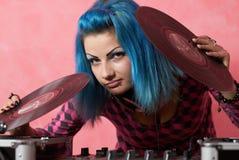 βαμμένο το το DJ πανκ τριχώματος κοριτσιών Στοκ Εικόνες