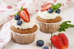Βανίλια cupcakes με τη φρέσκα μέντα, τη φράουλα και τα βακκίνια στοκ φωτογραφία με δικαίωμα ελεύθερης χρήσης