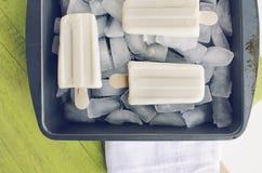 Βανίλια popsicles στον πάγο Στοκ Φωτογραφία