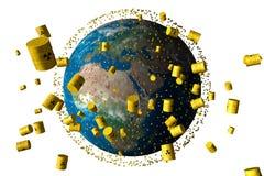 βαρέλια αποβλήτων γήινης πυρηνικών τροχιάς κίτρινων Στοκ Εικόνες