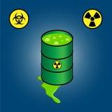 Βαρέλι που διαρρέει τα τοξικά απόβλητα + τα εικονίδια του biohazard και της ραδιενέργειας Στοκ φωτογραφία με δικαίωμα ελεύθερης χρήσης
