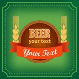 Βαρέλι του λογότυπου μπύρας με το έμβλημα Στοκ Εικόνες