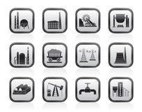 Βαριά εικονίδια βιομηχανίας Στοκ εικόνες με δικαίωμα ελεύθερης χρήσης