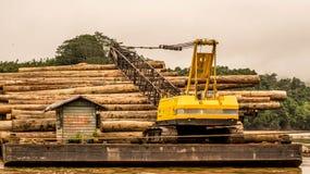 Βαριά ξυλεία φόρτωσης μηχανημάτων στη φορτηγίδα Στοκ εικόνα με δικαίωμα ελεύθερης χρήσης