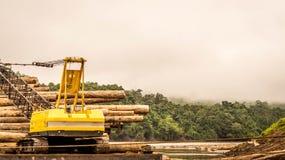 Βαριά ξυλεία φόρτωσης μηχανημάτων στη φορτηγίδα Στοκ εικόνες με δικαίωμα ελεύθερης χρήσης