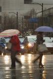 Βαριά στο κέντρο της πόλης βροχή Στοκ φωτογραφία με δικαίωμα ελεύθερης χρήσης