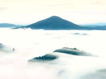 Βαριά υδρονέφωση στο τοπίο Θαυμάσια κρεμώδης ομίχλη φθινοπώρου Στοκ Φωτογραφία