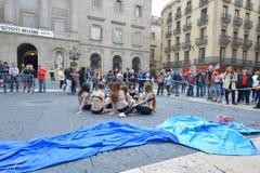 ΒΑΡΚΕΛΩΝΗ, ΙΣΠΑΝΙΑ - 28 ΑΠΡΙΛΊΟΥ: Διαμαρτυρία οδών στη Βαρκελώνη στις 28 Απριλίου 2016 στη Βαρκελώνη, Ισπανία Στοκ Φωτογραφίες