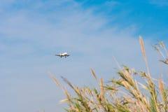 ΒΑΡΚΕΛΩΝΗ, ΙΣΠΑΝΙΑ - 20 ΑΥΓΟΎΣΤΟΥ 2016: Το αεροσκάφος απογειώνεται πέρα από το λιβάδι Διάστημα αντιγράφων για το κείμενο Στοκ Φωτογραφίες
