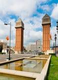 Άποψη του ενετικού πύργου στο τετράγωνο Espanya στη Βαρκελώνη το SEP Στοκ Εικόνα