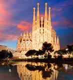 ΒΑΡΚΕΛΩΝΗ, ΙΣΠΑΝΙΑ - 10 ΦΕΒΡΟΥΑΡΊΟΥ: Άποψη Sagrada Familia, ένας μεγάλος Στοκ φωτογραφία με δικαίωμα ελεύθερης χρήσης