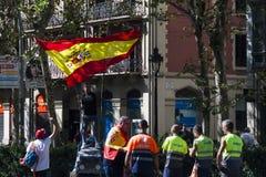 Βαρκελώνη, Ισπανία, στις 8 Αυγούστου 2017: Επίδειξη για την ενότητα με την Ισπανία Στοκ φωτογραφία με δικαίωμα ελεύθερης χρήσης