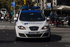 Βαρκελώνη, Ισπανία, στις 8 Αυγούστου 2017: οι υποστηρικτές για την ενότητα προστατεύθηκαν από την ισπανική αστυνομία guardia Ούρμ Στοκ φωτογραφία με δικαίωμα ελεύθερης χρήσης