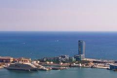 Βαρκελώνη, Ισπανία στις 4 Σεπτεμβρίου 2018: μια άποψη του ξενοδοχείου W από Montjuic στοκ εικόνες