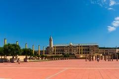 Βαρκελώνη, Ισπανία στις 4 Σεπτεμβρίου 2018: Τετράγωνο του σταδίου Ολυμπιακών Αγώνων στοκ εικόνες