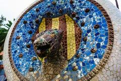 Βαρκελώνη, Ισπανία στις 4 Σεπτεμβρίου 2018: Parc Guell το επικεφαλής φίδι στοκ φωτογραφίες με δικαίωμα ελεύθερης χρήσης