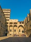 Βαρκελώνη: μεσαιωνικό Παλάου Reial Royal Palace στα καταλανικά σε Pla Στοκ φωτογραφία με δικαίωμα ελεύθερης χρήσης