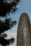 Βαρκελώνη, διαγώνιος AV, τον Ιανουάριο του 2016 - σύγχρονος ουρανοξύστης Torre Agbar- Στοκ εικόνα με δικαίωμα ελεύθερης χρήσης
