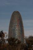 Βαρκελώνη, διαγώνιος AV, τον Ιανουάριο του 2016 - σύγχρονος ουρανοξύστης Torre Agbar- Στοκ Φωτογραφίες
