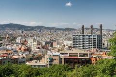 Βαρκελώνη Ισπανία: άποψη από Montjuic Στοκ εικόνα με δικαίωμα ελεύθερης χρήσης