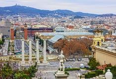 Βαρκελώνη Ισπανία Πανοραμική άποψη πόλεων Placa de Espanya στοκ εικόνα με δικαίωμα ελεύθερης χρήσης