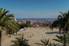 Βαρκελώνη, Ισπανία - 24 Σεπτεμβρίου 2016: Φύση Square Placa de Λα Natura Guell πάρκων στοκ εικόνα με δικαίωμα ελεύθερης χρήσης