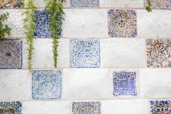 Βαρκελώνη, Ισπανία - 10 Σεπτεμβρίου 2016: Floral μωσαϊκό στο πάρκο Guell Στοκ φωτογραφίες με δικαίωμα ελεύθερης χρήσης