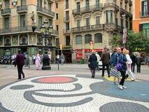 Βαρκελώνη, Ισπανία, στις 30 Σεπτεμβρίου 2015 - μωσαϊκό του Joan Miro στο RA Las Στοκ εικόνες με δικαίωμα ελεύθερης χρήσης