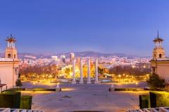 Βαρκελώνη Ισπανία στο σούρουπο Στοκ Φωτογραφίες