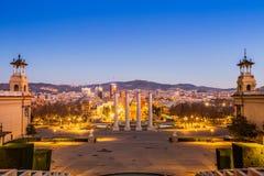 Βαρκελώνη Ισπανία στο σούρουπο Στοκ εικόνες με δικαίωμα ελεύθερης χρήσης