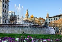 Βαρκελώνη Ισπανία Fontaine στην πλατεία της Καταλωνίας Στοκ φωτογραφία με δικαίωμα ελεύθερης χρήσης