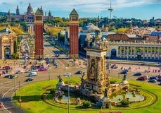 Βαρκελώνη, Καταλωνία, Ισπανία: το ισπανικό τετραγωνικό, εθνικό Μουσείο Τέχνης της Καταλωνίας Στοκ φωτογραφία με δικαίωμα ελεύθερης χρήσης