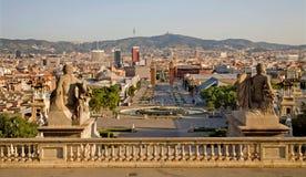 Βαρκελώνη - προοπτική από το παλάτι πραγματικό Plaza de Espana Στοκ φωτογραφία με δικαίωμα ελεύθερης χρήσης