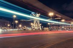 Βαρκελώνη στη νύχτα, Plaza Espanya Στοκ Εικόνες