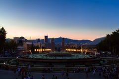 Βαρκελώνη, τετραγωνική της Ισπανίας το βράδυ, Plaza de Espana Στοκ φωτογραφία με δικαίωμα ελεύθερης χρήσης