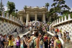 Βαρκελώνη, ES - τον Αύγουστο του 2008 CIRCA - άποψη του πάρκου Guell από στοκ φωτογραφία