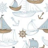 Βαρκών γραφική μπλε καφετιά χρώματος απεικόνιση σχεδίων σκίτσων άνευ ραφής Στοκ Εικόνες