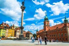 Βαρσοβία, Πολωνία †«στις 14 Ιουλίου 2017: Plac Zamkowy - το τετράγωνο κάστρων στη Βαρσοβία Στοκ Φωτογραφία