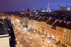 Βαρσοβία τη νύχτα στοκ εικόνα με δικαίωμα ελεύθερης χρήσης