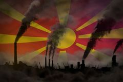 Βαρύς καπνός των σωλήνων εγκαταστάσεων στη σημαία της Μακεδονίας - σφαιρική έννοια θέρμανσης, υπόβαθρο με το διάστημα για το κείμ διανυσματική απεικόνιση
