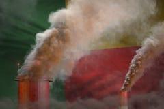 Βαρύς καπνός των σωλήνων εγκαταστάσεων στη σημαία του Μπενίν - σφαιρική έννοια θέρμανσης, υπόβαθρο με το διάστημα για το λογότυπό διανυσματική απεικόνιση